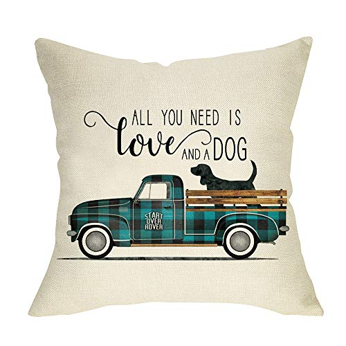 Fbcoo All You Need is Love and a Dog Throw Pillow Cover, Decorative Cushion Case Buffalo Plaid Check Blue Truck Home Decoration Sign, Spring Pillowcase Decor for Sofa Couch 18 x 18 Inch Cotton Linen