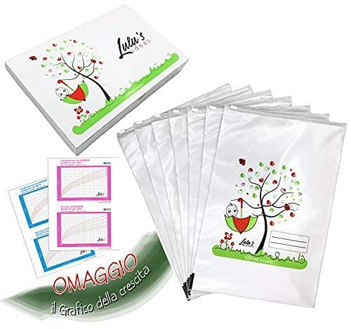 Lulu's Ideas - 7 bolsitas para canastilla bebe hospital, 24,5 x 37 cm, cierre hermético con cursor, Ecológicas, inodoras, 100% Hechas en Italia, idea regalo baby shower, bolsas muda guardería