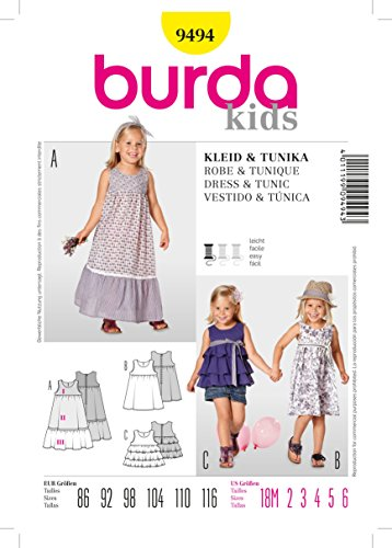 Burda Schnittmuster 9494 Kleid & Tunika Gr. 86-116