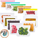 Reusable Storage Bags 12 Pack Sandwich Snack Bags Freezer Ziplock Lunch Food Bags for Home Food Travel Storage Leakproof Airtight BPA FREE PEVA (7 Sandwich bags & 5 Snack bags)