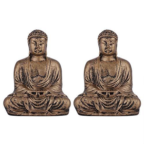 iFCOW Estatua de Buda de resina de estilo chino, 2 unidades, para decoración del hogar y la oficina