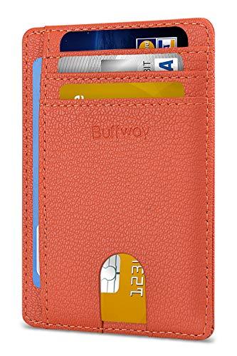 Slim Minimalist Leather Wallets for Men & Women - Lichee Orange