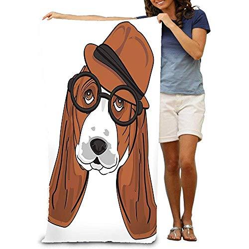 DSSYEAH Badetuch, weich, groß, 80 x 130 cm, Kopf, Hund, Brille, Maulkorb, Basset, Hund, Hut, Schwarz