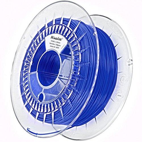 Minadax 0,5kg qualità premium 2,85mm 3mm Filament Flex Blu Scuro per stampante 3d prodotto in Europa