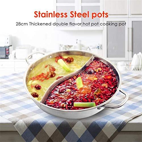 Cacerola China de Acero Inoxidable Hot Pot Wok con Tapa para Estufas de Gas, Estufas de inducción