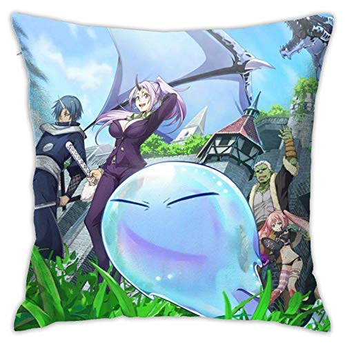 IUBBKI Funda de Almohada en la Cama en el salón Anime That Time I Got Reincarnated As A Slime Square Pillow Covers(18x18inch), Used for Soft Pillowcases for Living Room, Bedroom, Couch, Sofa, Bed