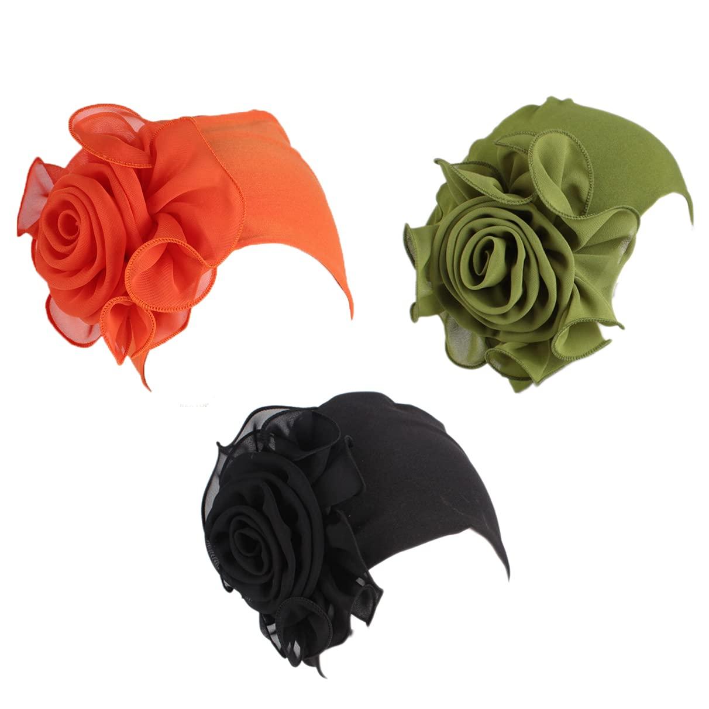 Women's Flower Hat Chemo Beanie Head Wrap Cap for Cancer Patient (Black&Royal blue)