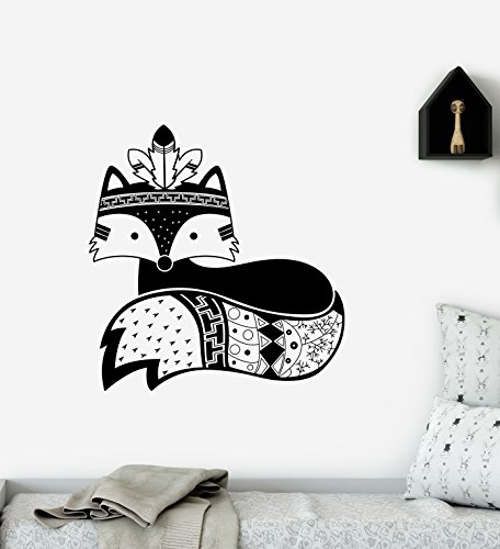 Graz Design Sticker mural pour chambre d'enfant Motif renard Noir 42 x 40 cm