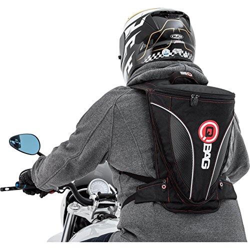 QBag Motorrad Rucksack Herren und Damen Fahrradrucksack Rucksack 13, sportlich, Visiertasche, 2 Einschubtaschen, Deckeltasche, 2 Außentaschen am Bauchgurt, Schwarz/Carbonlook, 7 – 12 Liter