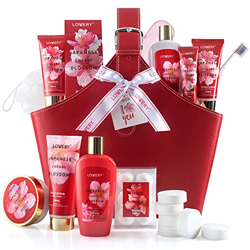 Home Spa Kit Gift Set – Japanese Cherry Blossom Bath Set, 25Pcs, Shower Gel, Body Lotion, Shower Steamers, Shampoo, Tooth Paste & Brush in a Leather Tote Bag - Luxury Bath & Shower Package for Women