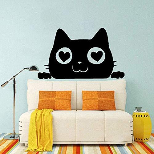 Gato que mira a escondidas amor corazón divertido animal decoración gráfica etiqueta de la pared 55 cm * 32,9 cm