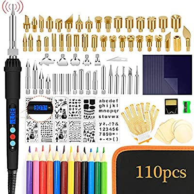 110 Pcs Pyrography Wood Burning Kit, Wood Burning Tool with Wood Burner,Adjustable Temperature Pyrography Pen with LCD Display Digital for Embossing/Carving/Soldering