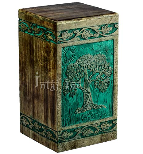 INTAJ Tree of life Engraved Rosewood Cremation Urn for Human Ashes, Adult Large Wooden Keepsake Urn for Ashes, Handmade Funeral Urn, Wood Urn Box (Keepsake - 100 Cu/In, Teal Green)