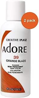 Adore Semi-Permanent Haircolor #039 Orange Blaze 4 Ounce (118ml) (2 Pack)