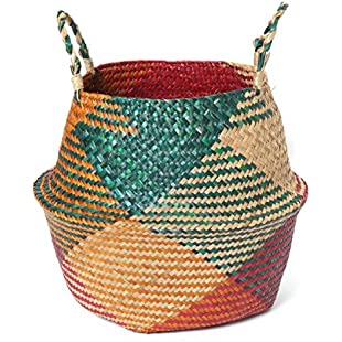 SZETOSY Natural Seagrass Basket - GOODCHANCEUK Belly Basket Handmade Planter Seagrass Seagrass Basket With Handle Laundry Toys Basket Red&Green Style#1 29CMx26CM