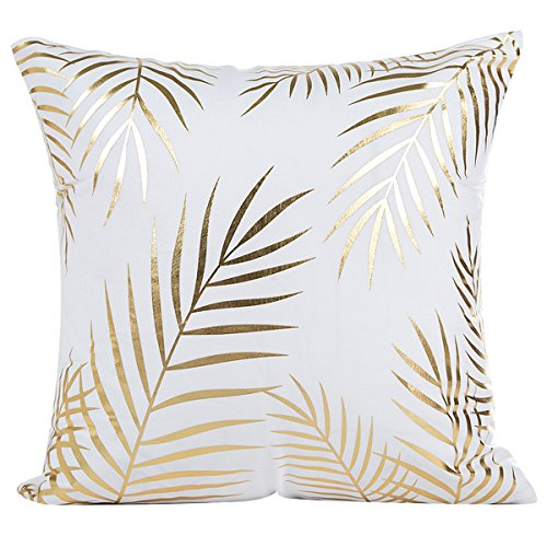 JOTOM Cushion Cover,Gold Foil Printing Waist Throw Pillow Case Sofa Cushion Cover Coffee Shop Car Home Decor 45x45cm (Gold Leaf 2)