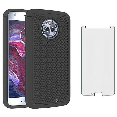 Phone Case for Motorola Moto X4 with Tempered Glass Screen Protector Cover and Cell Accessories Slim Rugged Silicone Hybrid Protective MotoX4 X 4th Generation 4X 4 Gen Android One XT1900-1 Cases Black