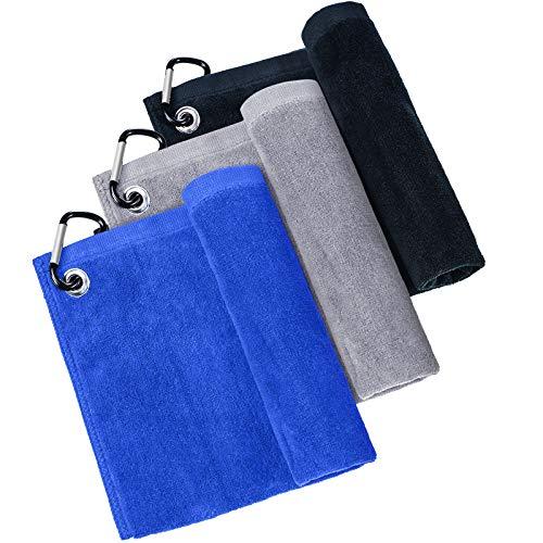 3 Piezas Toallas de Golf de Microfibra con Clip Toalla de Limpieza de Golf para Golf Acampada Yoga Gimnasio (Negro, Gris, Azul)
