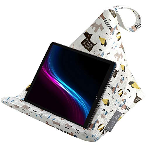 Izabela Peters Designer Bean Bag Cushion Pillow Holder Stand for iPad, Tablet, Kindle, Phone - Supports Devices At Any Angle - Luxurious Shimmer Velvet - Silver Grey - Pampered Dogs