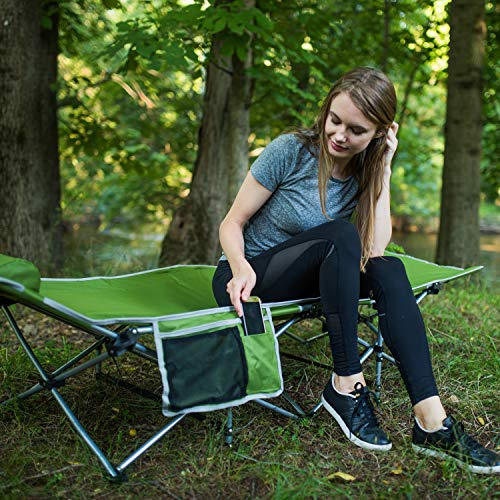 Alpcour Folding Camping Cot - Deluxe Collapsible Single Person Bed in a Bag w/Pillow for Indoor & Outdoor Use - Ultra Lightweight, Comfortable, Heavy Duty Design Holds Adults & Kids Up to 300 Lbs