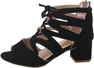 Omiky® Mode Frauen Damen Sandalen Ankle Platz Heels Block Party Offene Spitze Schuhe