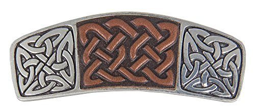 Celtic Knot Hair Clip, Large Hand Crafted Metal and Leather Barrette Made in the USA with an 80mm Imported French Clip by Oberon Design