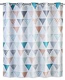 Wenko 22481100 Anti-Schimmel Duschvorhang Ethno Flex, Anti-Bakteriell, wasserabweisend, waschbar, schimmelresistent mit integrierter Hängeeinrichtung, 100prozent Polyester, 180 x 200 cm, mehrfarbig