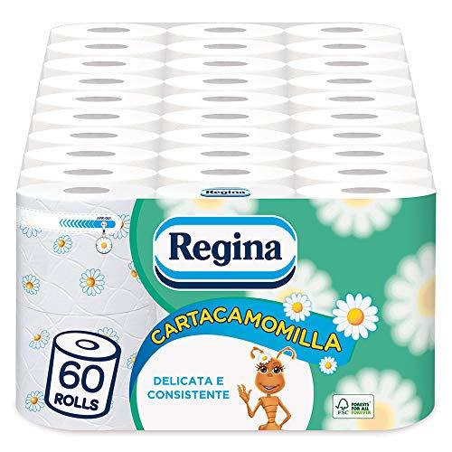 Regina Papiertoilettenpapier | 60 Rollen | 300 Rollen pro Rolle* | zart und konsistent, leicht duftend mit Kamillenessenz | Papier 100% FSC zertifiziert