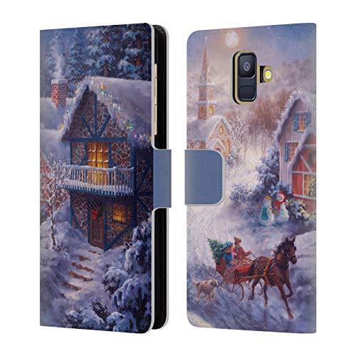 Head Case Designs Offizielle Christmas Mix Nicky Boehme Im Nikolausschlitten Winterlandschaft Leder Brieftaschen Huelle kompatibel mit Samsung Galaxy A6 (2018)