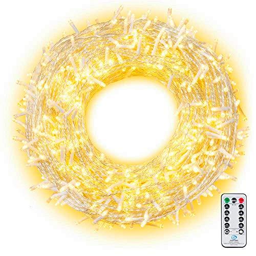 LED Lichterkette 100M 800 LEDs Ollny Wasserdicht Lichterkette Lang mit Fernbedienung & Timer 8 Modi Balkonbeleuchtung für Weihnachten Outdoor Innen Kinderzimmer Hochzeit Wohnzimmer, Kaltweiß