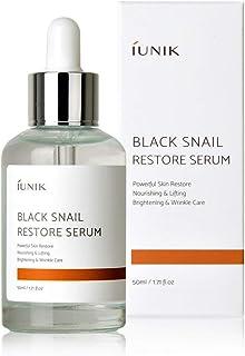 iUNIK Black Snail Restore Serum Repair Ampoule, 1.71 Fl Oz, - 70% Black Snail Mucin Secretion Filtrate – Soothing, Anti-Aging Reduce Wrinkle & Fine Lines -Deep Nourishing, Moisturizing Serum Essence