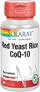 Solaray Red Yeast Rice Plus CoQ-10 | with Niacin for Added Cardiovascular Health Support | Non-Irradiated & No Citrinin | 60 Vegetarian Capsules