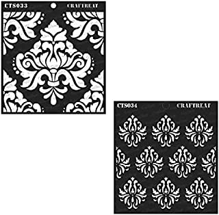 CrafTreat Stencil - Bold Damask and Damask Background (2 pcs) - Reusable Painting Template for Home Decor, Crafting, DIY Albums, Scrapbook and Printing on Paper, Floor, Wall, Tile, Fabric 6x6 inches