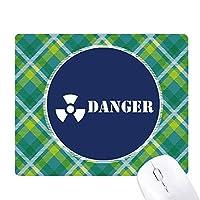危険核医学 緑の格子のピクセルゴムのマウスパッド