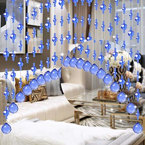 GDMING Cortinas De Hilos for Puertas Cortina De Cuentas Hogar Decoración Divisor Biombos Cristal Cadenas Purpurina Panel Cocina,Sala,Personalizable (Color : Blue, Size : 20STRANDS-60X60CM): Amazon.es: Hogar