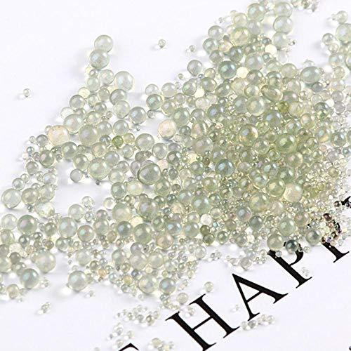 10 g/paquete de mini bolas de burbuja de 0,4 a 3 mm mixtas pequeñas cuentas para globo de vidrio de silicona para rellenar dijes DIY Nail Craft decoración del hogar, 15 Color verde gris.