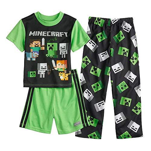 Mojang Boy's Steve and Alex Mob Creeper 3-Piece Pajama Set (10) Black, Green