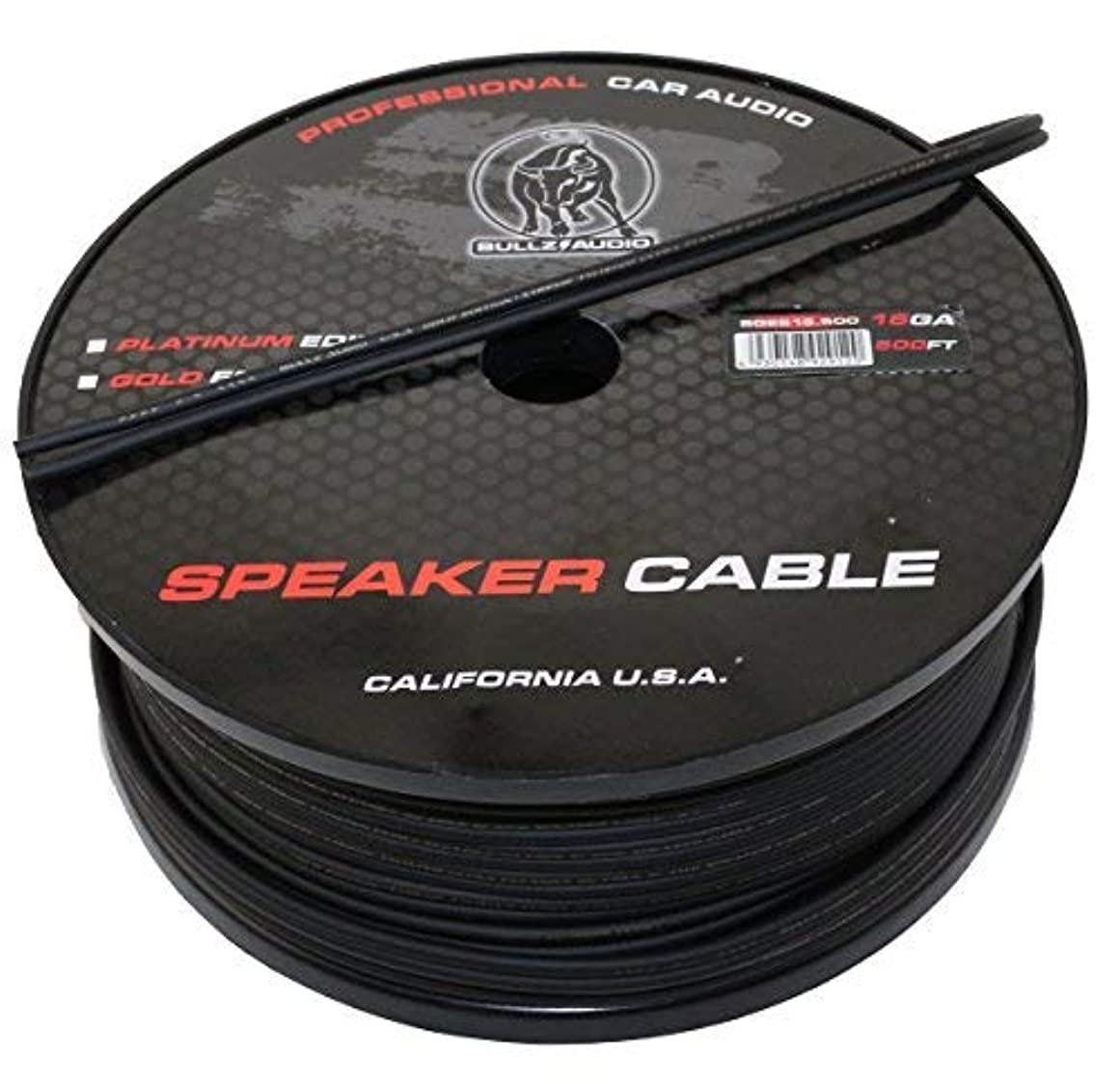 ビーズジャングルストレスBullz Audio BGES16.500 500' 16 Gauge AWG Car Home Audio Speaker Wire Cable Spool (Black) [並行輸入品]