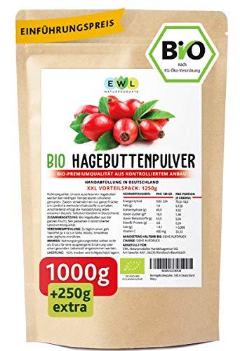 Bio Hagebuttenpulver Bio 1000g + 250g extra XXL Vorteilspack Hagebuttenpulver in Rohkostqualität | Ganze gemahlene Hagebutte | kontrollierter Anbau | Kontrolliert und abgefüllt in Deutschland