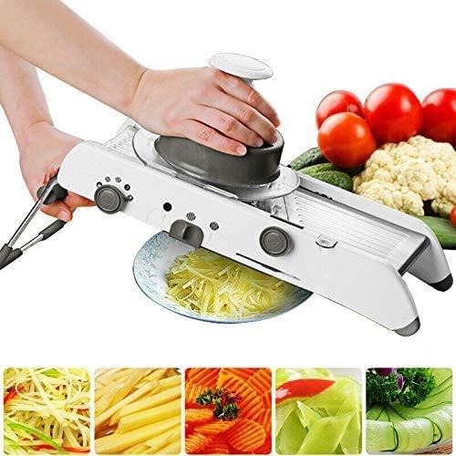 Tasty health Mandoline de Cuisine Multifonction en INOX de QUALITÉ Professionnel Robuste dans l'usage au Quotidien pour Couper Facilement Vos légumes. Gants DE SECURITE Inclus.