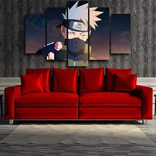 13Tdfc Quadro Multipannello di 5 Pannelli, Quadro su Tela 5 Pezzi, Stampa Artistica, Moderno Canvas 150X80Cm,Comandante della Terza Divisione di Naruto Anime Shinobi War Pronto Appendere