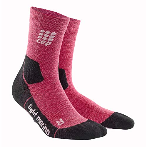 CEP – HIKING LIGHT MERINO MID CUT SOCKS für Damen | Warme Wandersocken in rot | Größe IV