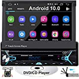 CAMECHO Android10.0 Car Radio Single Din Car DVD/CD Player with GPS 7 inch Retractable & Flip Out Touch Screen Support Bluetooth WiFi iOS/Android Phone Link with USB/SD/AM/FM/RDS Radio+Remote Control
