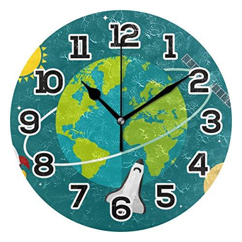 BONIPE Globus Wanduhr, flach, Erdung, geräuschlos, Nicht tickend, Acryl, 23,9 cm, Dekoration, Büro, Schule, runde Uhr