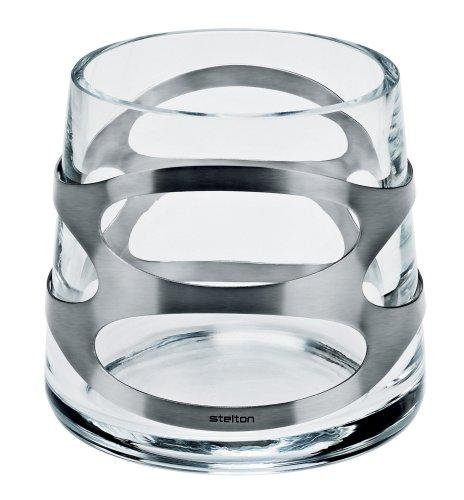 Stelton Glasvase, Glas/Edelstahl,