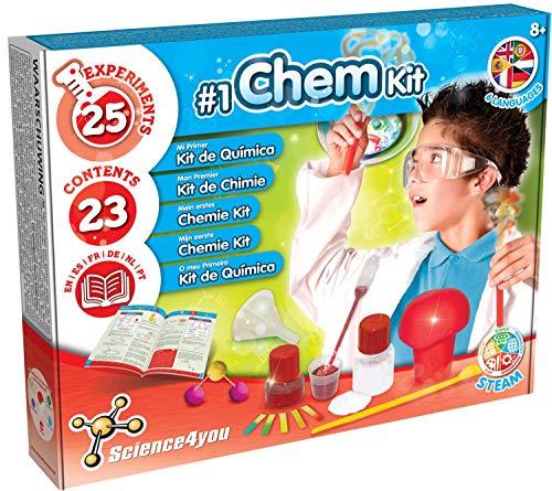 Science4you Mein erstes Chemie Kit Wissenschaft Chemielabor mit 25 Experimenten Lernspielzeug in 5 Sprachen für Kinder ab 8 Jahren