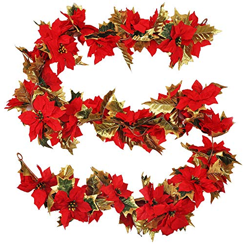 HUAESIN 1.7M Christmas Garland Decorations Red Poinsettia Garland Fireplaces Stairs Christmas Garlands Hanging Vine with Phnom Penh Leaves for Xmas Festive Wreath Door Stairs Fireplace Décor
