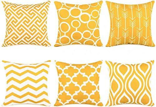IUYJVR Cushion Covers Creative Pillow Canvas for sofa Set of 6 45x45cm-45x45cm_Lemon yellow