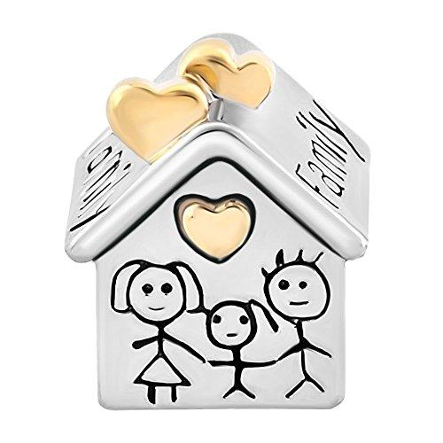 Cuenta Uniqueen con diseño de casa y familia, compatible con pulseras Chamilia y Troll