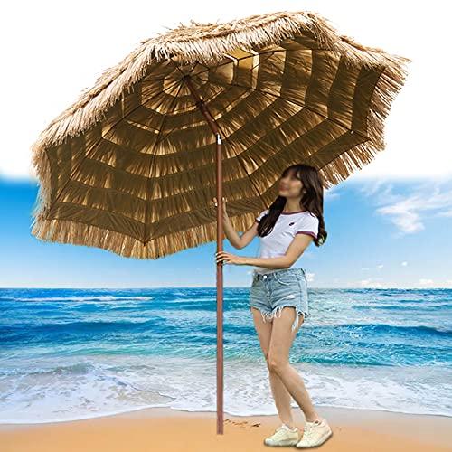 XINGG Sombrilla Jardín Hawaiana De 240cm, Sombrilla De Jardín De Paja De Imitación De Playa, Protección De Sombra, Protección UV, para Patio Terraza O Jardín Exterior